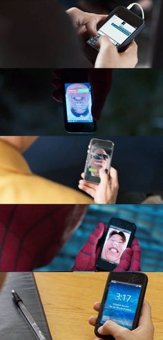 """And finally, in Spider-Man: Homecoming, Peter's phone screen gets more and more damaged after each battle. 21 Details From Marvel Movies That'll Make You Say, """"How Did I Not Notice That? Marvel Films, Marvel Memes, Marvel Dc Comics, Marvel Characters, Marvel Avengers, Nick Fury, Bruce Banner, Tom Holland, Steve Rogers"""