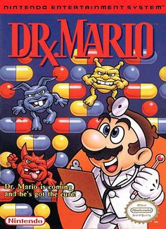 """Box art for """"Dr. Mario,"""" a Tetris-like puzzle game released by Nintendo for the Nintendo Entertainment System and Game Boy in 1990."""