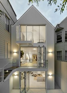New steel stairs design san francisco 38 ideas Victorian Architecture, Contemporary Architecture, Interior Architecture, Architecture Portfolio, Modern Victorian, Victorian Homes, Victorian Era, Steel Stairs Design, Three Story House