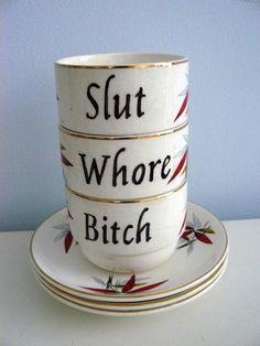 SALE Whore Slut Bitch cup set by trixiedelicious on Etsy, $50.00