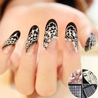 Wish | New 30 Sheets 3D Lace Nail Art Stickers Decals Accessories Tips White DIY