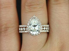 Tabitha 10x7 & Petite Bubble Breathe 14kt Pear FB Moissanite and Diamonds Halo Wedding Set (Other metals and stone options available)