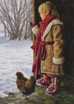 ~ painting by American artist - Robert Duncan - ) Native American Art, American Artists, Robert Duncan Art, Farm Paintings, Jesus Christus, Farm Art, Winter Kids, Wildlife Art, Western Art