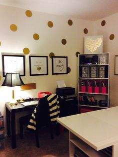 Pink gold black. Kate Spade inspired office. Polka dot wall decal.