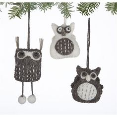 Set of 3 Mini Felt Owl Ornaments in Christmas Ornaments | Crate and Barrel  Very glad I bought these!