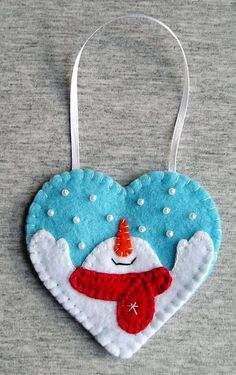 Christmas snowman, tree ornaments, felt snowman, home decor, felt christmas ornaments, felt ornament, embroidery handmade, PRICE PER 1 ITEM - ornament
