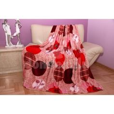 Červená hrubá deka z mikrovlákna so vzorom kruhov Bassinet, Toddler Bed, Blanket, Tv, Furniture, Home Decor, Child Bed, Crib, Decoration Home