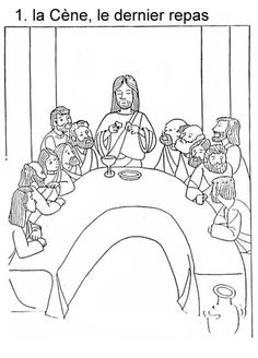 Little coloring book from Holy Week to Easter Lords Supper, Last Supper, Faith Crafts, Bible Crafts, Coloring Books, Coloring Pages, French Worksheets, Holy Week, Kirchen