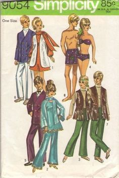 Barbie simplicity sewing pattern vintage.  I use to sew clothes for my Barbies.