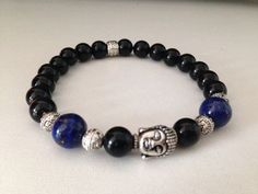 Men's bracelet, lapis lazuli and black onyx Buddha, zen jewelry, healing stones, healing jewelry on Etsy, $30.87 CAD