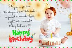 Get the best and most suitable wishes for you son on his birthday. Here is a collection of Various types of Happy Birthday Wishes for your Son so that he will be happy all day with your words.Check out Happy Birthday wishes for your son here Short Happy Birthday Wishes, 1st Birthday Message, Unique Birthday Wishes, Birthday Wishes Greetings, Birthday Wishes And Images, Birthday Wishes For Daughter, Happy Birthday Son, Birthday Verses, Birthday Cake