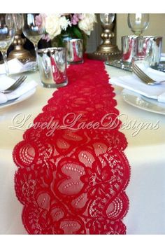CLEARANCE 6ft Lace Table Runner Dark Red by LovelyLaceDesigns