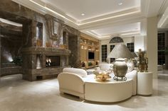 Fireplace, Chair & Corner Table Arrangement Idea in Traditional Living Room - Marble, Niche, Tile Floor, White & Arched Window Beautiful Living Rooms, Beautiful Space, Beautiful Homes, Living Room Images, Living Room Designs, Cool Rooms, Great Rooms, Basement Inspiration, Arched Windows