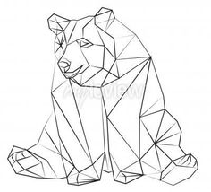 Niedźwiedź on prints from myloview. The best quality stickers, , canvas prints, murals, posters. Do you want to decorate your home? Only with myloview! Geometric Bear, Geometric Drawing, Geometric Shapes, Tape Art, Polygon Art, String Art, Art Projects, Art Drawings, Sketches