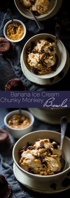 Gluten Free Chunky Monkey Banana Ice Cream Bowls - These 5-minute bowls are made of peanut butter banana ice cream and topped with brownies and nuts. They're a healthier treat with only 5 ingredients!   Foodfaithfitness.com   @FoodFaithFit