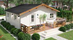 TAURO E 25 m² 500x500 con voladizo Bungalow de madera, Bungalow