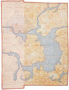 Map quilt inspiration by Leah Evans Quilt Inspiration, Map Quilt, Quilt Art, Textiles, Landscape Quilts, Landscape Art, Textile Artists, Cartography, Fabric Art