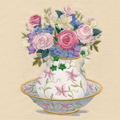 Floral Wash Basin and Pitcher