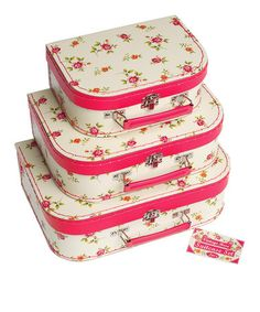 Set of Three Vintage Rose Mini Suitcases by All You Need For Christmas on #zulilyUK today! Perfect for storing dressup in