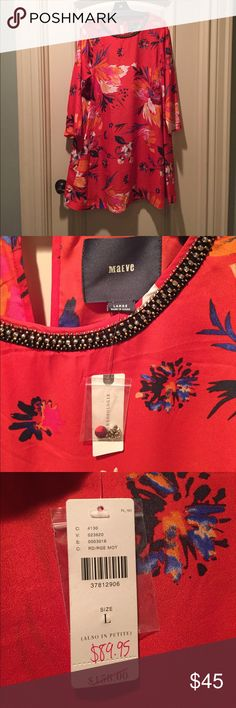 Anthropologie red dress NWT Never worn. Bought on sale, originally $158, I bought for $89.95. Anthropologie dress by Maeve. Size large. Comes with extra beads. Anthropologie Dresses Midi