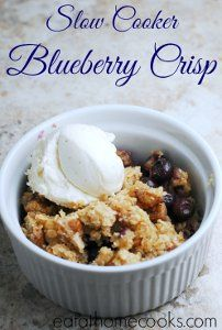 Make this Skinny Slow Cooker Blueberry Crisp if you are looking for a flavorful dessert that won't make you feel guilty. This easy blueberry crisp recipe uses healthier ingredients than the more traditional crisps, but won't sacrifice the taste.
