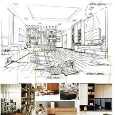 Family area #interior #sketch #Mood