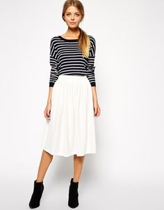 ASOS Woven Midi Skirt In Crepe - Ivory - Click the link to shop this item :)