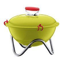 Bodum FYRKAT Picnic Charcoal Grill - Green by Bodum. $39.95. Cookware. 7705591. Whether you are tailgating, camping, or cooking for a small group of friends on the beach, the Bodum® FYRKAT is the perfect compact BBQ grill. Features a 13.4 diameter cooking surface, perfect for grilling whole fish, steaks, burgers and vegetables. Made of enamel-coated steel with chrome-plated steel legs. Heat-resistant silicone handle with silicone lid clips for easy carrying. Comes with...