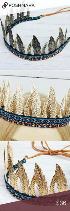 Bohemian Head Brown, Boho Wedding Hair This listing is for a bohemian head crown. Boho head crown. Hair halo. Leaves head crown. Boho wedding. Tie back.  Brand New! Your choice of Gold, Antique Gold, or Silver. Accessories Hair Accessories