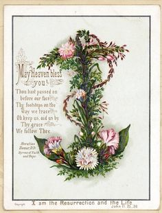 Religious Verse Floral Anchor Heaven Bless You Antique Victorian Greeting Card | eBay