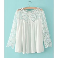 Lace Splicing Stylish Round Collar Long Sleeve Women's T-Shirt