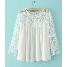 Lace Splicing Stylish Round Collar Long Sleeve Women's T-Shirt