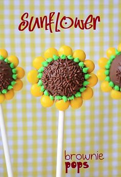 sunflower brownie pops- cute... I'd have to add a face to make them go with my PvZ party