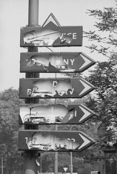 August 1968: In an attempt to make it as difficult as possible for the invading Soviets to find their way around Prague, the city's road signs are smashed. (Photo by Stefan Tyszko/Getty Images)