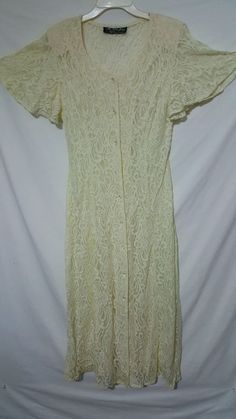 Vtg 80s Lace Up Dress Long Gypsy Stevie Nicks Cream Ecru Beach Wedding #AllThatJazz #Corset #Casual