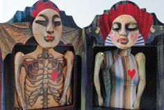 mixed media assemblage art doll odd wall art  by BurningHeartArt, $35.00