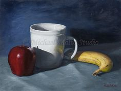 """Still Life, """"A Healthy Snack"""" 9x12 oil on canvas board"""