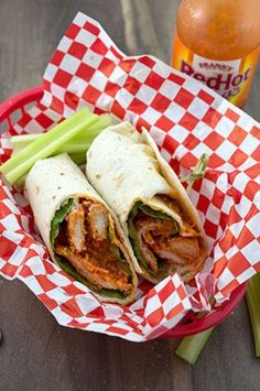 Buffalo chicken wrap made with baked chicken tenders