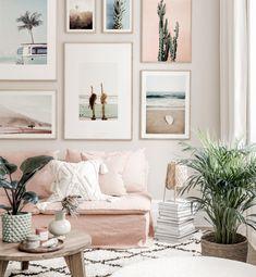 Mural de cuadros veraniego pósters de playa estilo surfista interior rosado blanco marcos de roble - Murales de cuadros - Posterstore.es