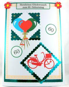 Jetzt auch A4 Karten im Shop. Hier eine A4 Karte zum 60. Geburtstag. Sehr schön für Firmen, Vereine oder andere Gruppen wo viele Menschen unterschreiben möchten.
