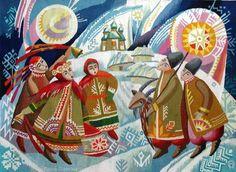 Ukrainian Christmas, woven tapestry, from Iryna with love Ukrainian Christmas, Christmas Art, Ukraine, Ukrainian Art, Art Icon, Winter Solstice, Tapestry Weaving, Vintage Cards, Traditional Art