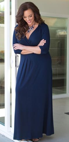 Plus Size Desert Rain Maxi Dress - Navy at www.curvaliciousclothes.com Size 0X - 5X