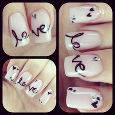 Love - Nails - Diamonds - Nail Art