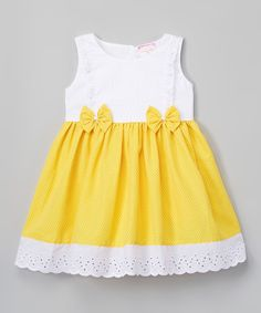 Another great find on #zulily! Yellow & White Polka Dot Eyelet Dress - Toddler & Girls #zulilyfinds