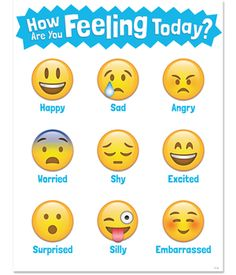 This How Are You Feeling Today? chart brings a little bit of social media emoji fun to the classroom. Students will identify with these emoji faces and the feelings that correspond to each. Feelings represented on chart: Happy, Sad, Angry, Worried, Shy, Excited, Surprised, Silly, and Embarrassed.  #RePin by AT Social Media Marketing - Pinterest Marketing Specialists ATSocialMedia.co.uk