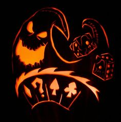 Oogie Boogie & Nightmare Before Christmas © Disney & Tim Burton (?) I carved this out of an artificial pumpkin last year. Pumpkin Carving Stencils Free, Halloween Pumpkin Stencils, Disney Pumpkin Carving, Scary Halloween Pumpkins, Pumpkin Carving Contest, Halloween Facts, Amazing Pumpkin Carving, Pumpkin Carving Patterns, Halloween 2019