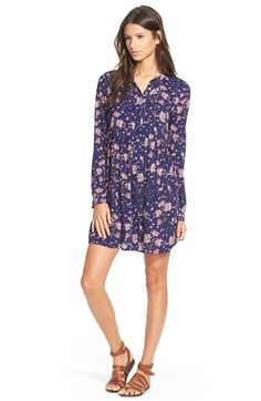 Sun & Shadow Floral Print Woven Shirtdress available at #Nordstrom