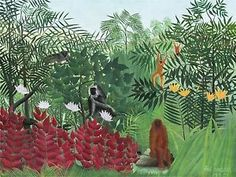 HENRI-ROUSSEAU-FRENCH-TROPICAL-FOREST-MONKEYS-OLD-ART-PAINTING-POSTER-BB5635A