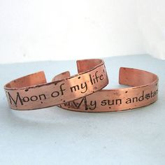His and Hers Khal/Khaleesi Cuff Bracelets - Game of Thrones - Etched Copper. $67.00, via Etsy.