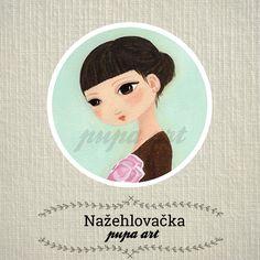Dievčatko s magnóliou - nažehlovačka (kruh 5 cm)   Zboží prodejce Venia bf407a447d